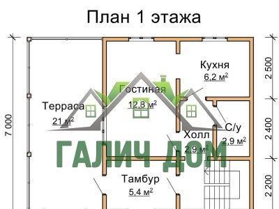 Картинка (5) Планировка 1-го этажа дома из бруса 7х9 (ДБ-34)