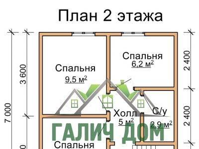 Картинка (6) Планировка 2-го этажа дома из бруса 7х9 (ДБ-34)
