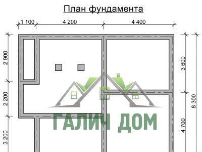 Картинка (7) План фундамента дома из бруса 9х9 (ДБ-26)
