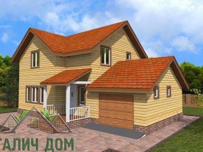ДБ-73 | Двухэтажный дом из бруса 8х12 с гаражом