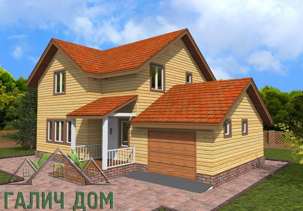 Картинка (1) Двухэтажный дом из бруса 8х12 с гаражом (ДБ-73)