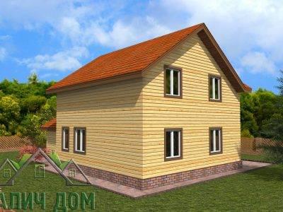 Картинка (3) Проект дома из бруса 8х12 с гаражом (ДБ-73)