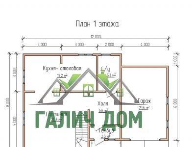 Картинка (5) Планировка 1-го этажа дома 8х12 (ДБ-73)