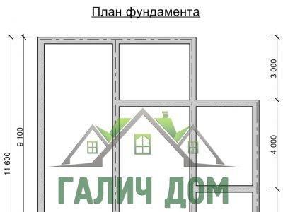 Картинка (7) План фундамента дома из бруса 10 на 11 (ДБ-28)