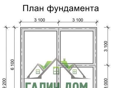 Картинка (7) План фундамента дома из бруса 6х9 (ДБ-32)