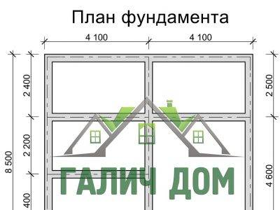 Картинка (7) План фундамента дома из бруса 8х8 (ДБ-24)