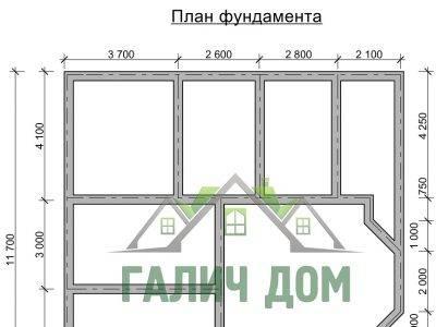 Картинка (7) План фундамента двухэтажного дома из бруса 11 на 11 (ДБ-29)