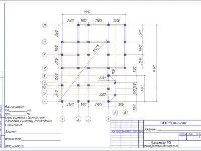 Картинка (7) План свайного фундамента дома из бруса 9 на 9 (ДБ-31)