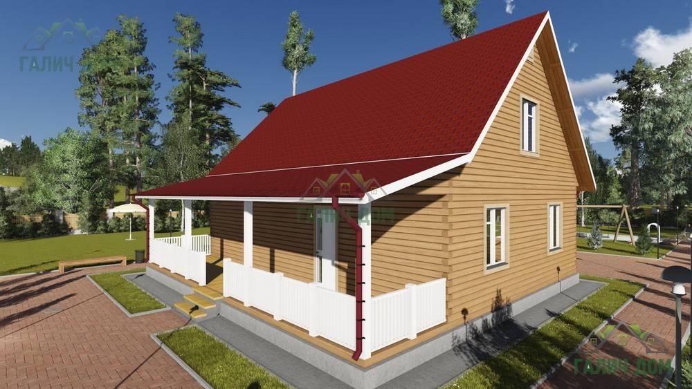 Картинка (1) Дом из бруса 11х13 с террасой (ДБ-75)