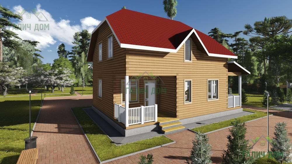 Картинка (1) Деревянный дом из бруса 8х11 (ДБ-77)
