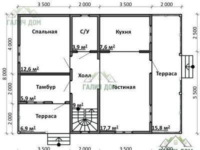 Картинка (5) Планировка 1-го этажа дома 8х11 (ДБ-77)