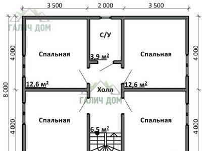 Картинка (6) Планировка 2-го этажа дома 8х11 (ДБ-77)