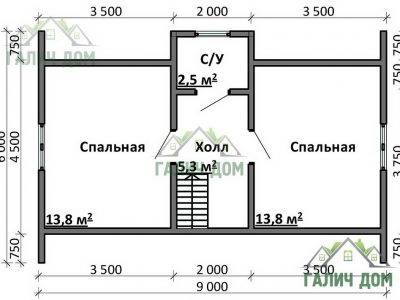 Картинка (6) Планировка 2-го этажа дома 8 на 9 (ДБ-78)