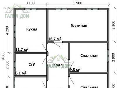 Картинка (6) Планировка одноэтажного дома (ДБ-79)
