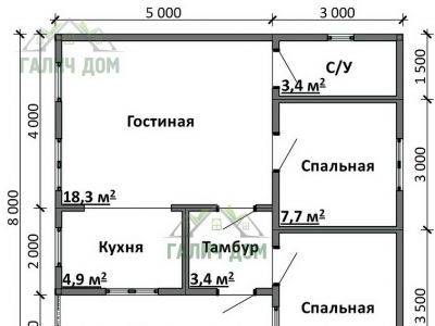 Картинка (5) Планировка дома 8х8 (ДБ-80)