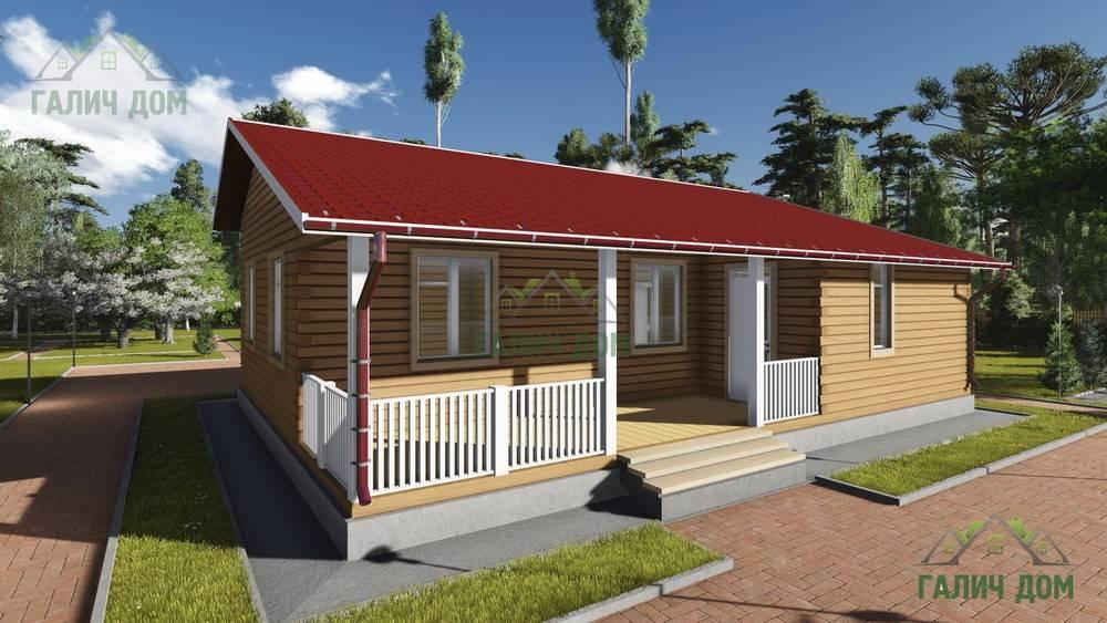 Картинка (1) Одноэтажный дом из бруса 9х12 с террасой (ДБ-81)