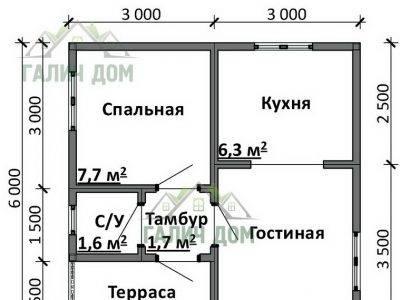 Картинка (5) Планировка дома 6х6 (ДБ-82)