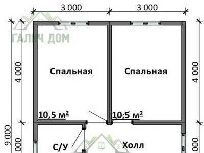 Картинка (5) Планировка дома 6х9 (ДБ-83)