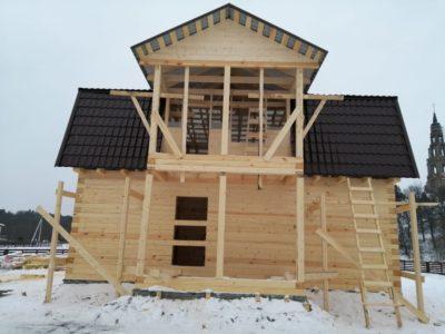 Строительство дома из бруса с мансардой в д. Рай-Семеновское, Московской области