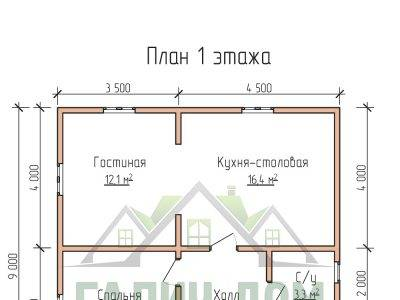 Картинка (5) Планировка 1-го этажа дома 8х9 (ДБ-70)