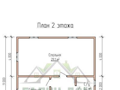 Картинка (6) Планировка 2-го этажа дома 8х9 (ДБ-70)