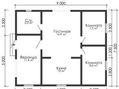 Картинка (9) Планировка дома 2-й вариант (ДБ-177)