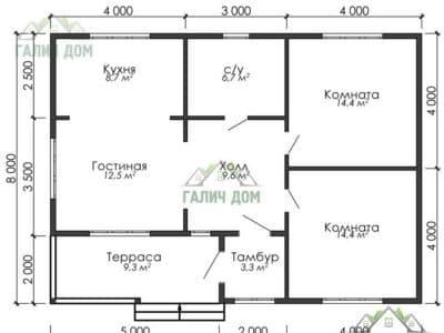 Картинка (5) План одноэтажного дома из бруса 8х11 (ДБ-1)
