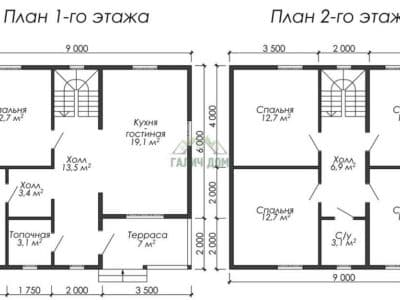 Картинка (5) Планировка 1-го и 2-го этажа (ДБ-179)