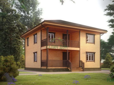 Двухэтажный брусовой дом 9х9