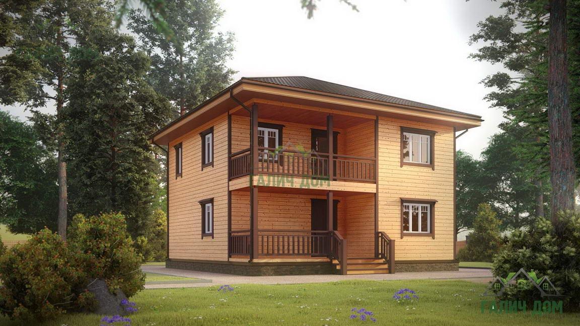 Картинка (1) Двухэтажный брусовой дом 9х9 (ДБ-182)