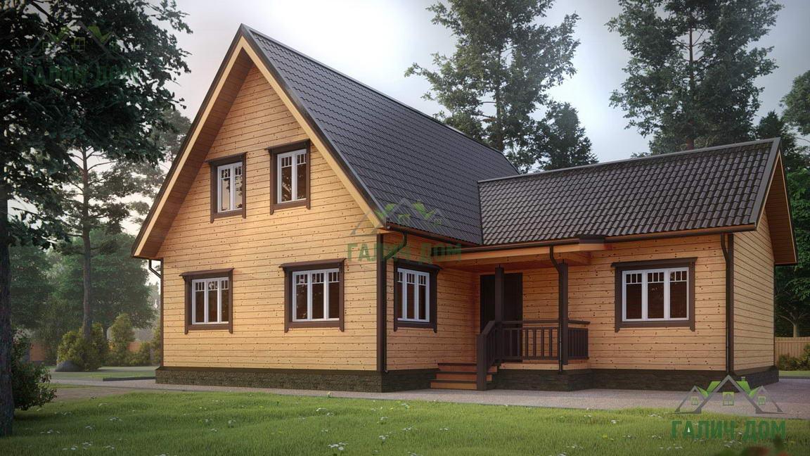 Картинка (1) Дом из бруса 12х13 с мансардой (ДБ-20)